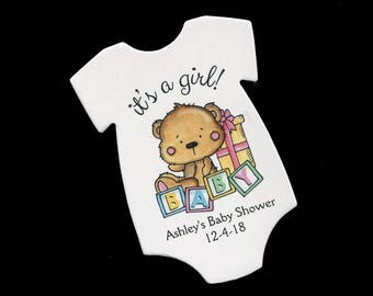 Baby Shower Favor Tags - Baby Girl Tags - Bodysuit Shaped Tag - Bear - Baby Girl Shower - Baby Shower Tag - Baby One Piece - Die Cut Tag