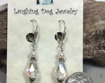 Swarovski Crystal, Swarovski Pearl and Sterling Silver Earrings