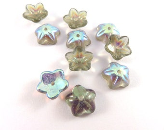 10 Czech Glass Flowers Vitrail 5 Petal Bead Caps 9x4mm for 8mm+ Beads - 10 pc - 6512-VT-19