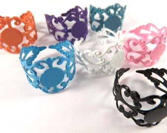SALE - 7 Filigree Ring Blank Base Copper Assorted Colors 8mm Pad - 7 pc - R8001-AS8
