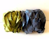 Silk Sari Ribbon-Green & Blue Sari Ribbon-10 Yards