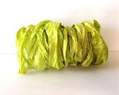 Silk Sari Ribbon-Recycled Lemon Lime Sari Ribbon-10 Yards