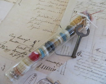 Vintage Chemistry Test Tube With Vintage Buttons & Skeleton key-Lab Glass