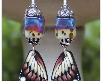 Spotted Wings Lampwork Earrings