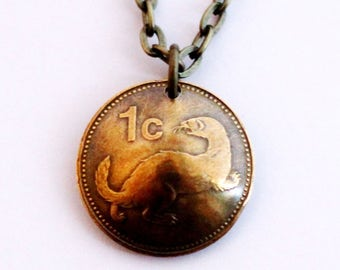 RESERVED Domed Coin Necklace, Malta, 1991, Maltese Weasel Animal Pendant, 1 Cent, Jewelry by Hendywood
