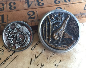 Victorian Picture Buttons ~ 2 Birds