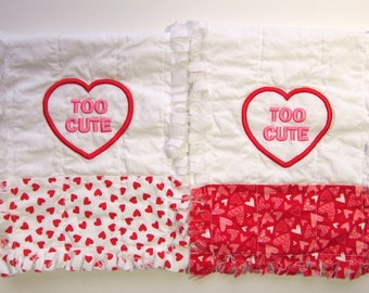 Baby Valentines Day, Burp Cloths, Baby Gift Set, Flannel Rag Quilt