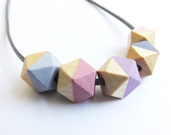 Geometric necklace hexagon pink lilac mauve blush ss2017