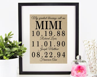 My Greatest Blessings Call Me MIMI | Mother's Day Gift for Grandmother | Personalized Burlap Print | Grandchildren Names Birth Dates