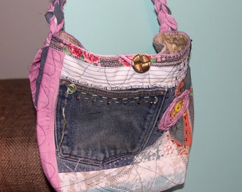 Bohemian Recycled Purse Tote Bag Denim Fabric Rose Scrappy Boho Jean Pockets Crocheted Fabric Handle
