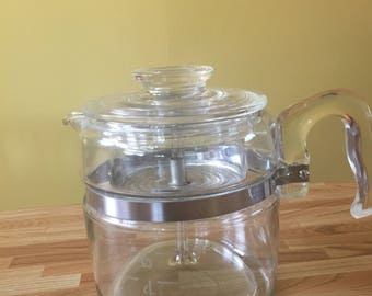 Vintage Pyrex Coffee Pot 6 cup Blue Flameware Glass Kitchenware
