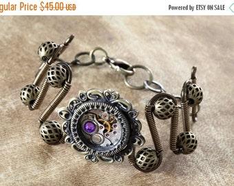 SALE 25% OFF - Steampunk Jewelry - Bracelet - antique watch movement and Heliotrope swarovski crystal