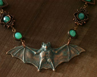 Steampunk GOTHIC CHIC necklace, Verdigris bat with Uranium Vaseline Glass - Designs Exclusively by CatherinetteRings
