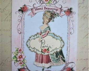 MARIE ANTOINETTE - notecards - Set of 4 - Merci Beaucoup - Paris - lovely cards, romantic, elegant - MAC 767