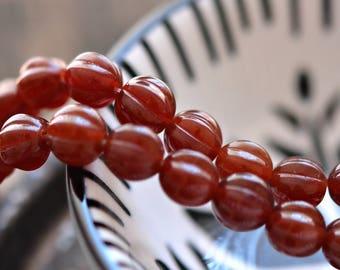 Caramel Sauce - Premium Czech Glass Beads, Dark Milky Caramel, Ribbed Melon Rounds 8mm - Pc 25