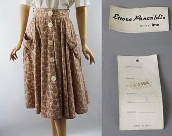 Vintage 1990s Circle Skirt NOS Italian Cotton Print by Ettore Pancaldi W28