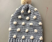 Polka dot beanie slouchy crochet knit hat with pompom grey gray with ivory