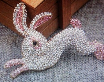 Rabbit pin, rabbit brooch, pink and white rabbit brooch, crystal brooch
