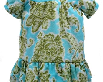 Little Girl Dress, Green Dress, Floral Dress, Kids Clothes, Baby Girl Frock, Toddler Clothing Ready-to-ship Size 2T