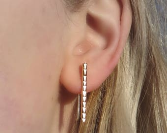 Hammered Bar Ear Climbers in Bronze - Arrow Ear Crawlers - Arrow Bar Earrings - Bronze Ear Bar Two Way Earrings - Gift for Her