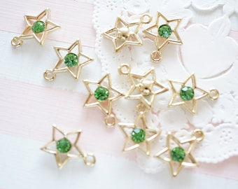 5 pcs Star with Clear Stone Charm (12mm) Peridot AZ309 (((Limited Stock)))