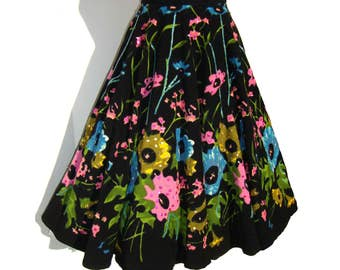 Vintage Circle Skirt Black Corduroy Floral Sequins & Beads M