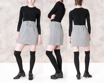 GINGHAM MINI SKIRT black white Summer Spring 90s women skirts short vintage / Small