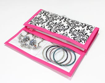 Jewelry Travel Case, Damask, Black and White, Hot Pink Trim, Made To Order