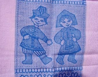 Vintage Huck Towel Pink Blue Danish Children