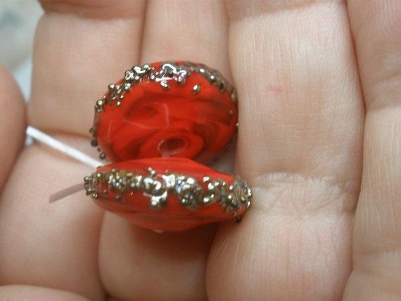 Lamp work Bead Pair (2 Beads), SRA artist, handmade glass, lampwork beads, jewelry supplies, earring pair, jewelry design, OOAK murano glass