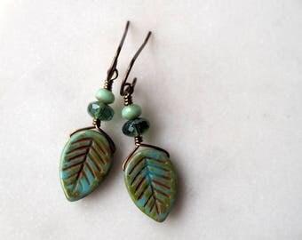 Leaf Earrings / Turquoise and Green Brass Earrings / Bohemian Earrings / Nature Lover Jewelry / Boho Chic Leaf Earrings / Green Earrings