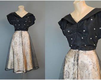 Vintage 1950s Party Dress, fits 34 bust, Black Taffeta & Net over Ivory