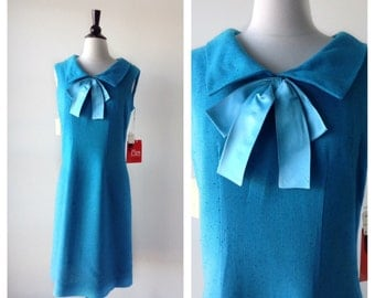 1960s Vintage Dress - 60s Turquoise Blue Linen Shift Dress