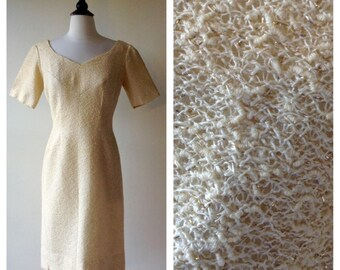 Vintage 1960's Dress - 60's Cream Boucle Dress