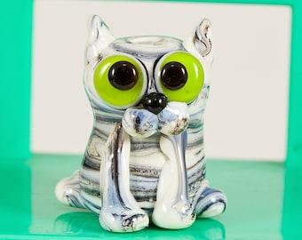 Streaky Gray Kitty Cat Lampwork Bead