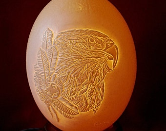 Hand carved and Sculpted Ostrich Egg - Native Spirit