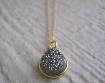 Druzy Necklace- Gold, Silver, Bezel, Setting, Simple Everyday Jewelry, Gift