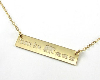 Momma Bear Necklace | Mama Bear Necklace | Mothers Day Gift | Gift for Mom | Mothers Jewelry | Bear Cub | Gold Bar Necklace | Silver Bar