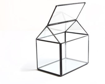 Glass House Shaped Terrarium with Gray Metal 6.125 x 6.125 Stained Glass Art