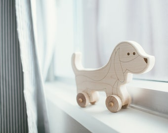 Dog Wooden Push Toy - Dog Toy - Handmade Wood Toy - Play Dog - Toddler Toy - Solid Maple Wood Toy - Dog - Wood Toy - Rolling Toy -TY19