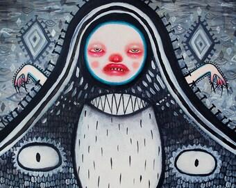 Unique original art on canvas, wall art, fine art painting, original painting, voodoo, voodoo doll, dark art, dark surrealism, dark fine art