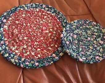 "Set Trivet - Hot pad - Coiled Fabric Mat Set of Two, Trivet, Mug Rug, Centerpiece, Hot Pad - 8"" and 5"" Blue, Maroon, Pink, Green"