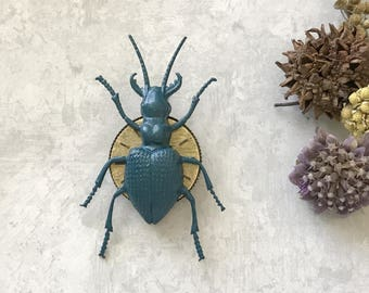 Bold Beetle Brooch Steampunk Beetle Pin Vintage Stag Beetle Blue Insect Vintage Watch Face Entomologist Gift Insect Lapel Sweater Pin