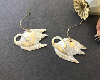Swan Earrings, White Swans, Gold Swans, Bird Earrings, Acquatic Bird, Waterfowl,  Anatidae Family, Animal Jewelry, Graceful Bird, Swan Lover