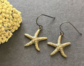 Starfish Earrings, Sea Animal, Beach Jewelry, Antique Brass, Vacation Earrings, Summer Earrings, Starfish Shell, Pierced, Dangle, For Her