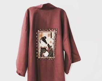 Ready to wear burgundy geisha panel linen haori style jacket