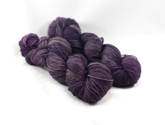 Witching Hour - Letter - Semi Solid Sock Yarn - Tonal Purple Yarn - Gray Purple Yarn - Tonal Deep Purple MerinoYarn
