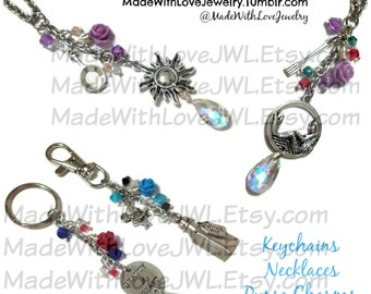 The Little Mermaid Tangled Beauty and the Beast Alice In Wonderland Inspired Necklace Keychain Purse Charm