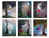 Signed Art Prints - SALE - Only 5 Sets Left - Set of 6 - Alice In Wonderland Prints - Fairytale - 8x10 - Home Decor - Office Decor Ideas