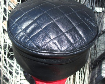 Black Leather Kufi Hat w/ Quilted Top Golden Child Style
